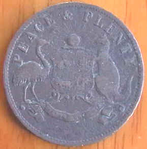 Peace and plenty trading token australian 1858
