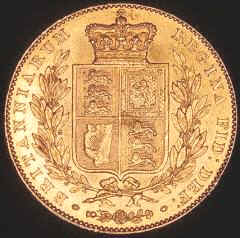 Reverse of 1838 Victoria Young Head Shield Sovereign
